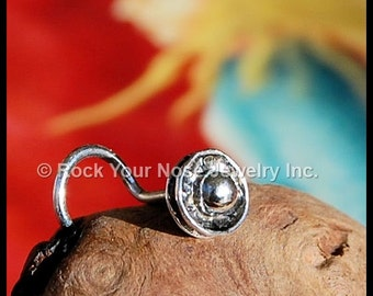 Steampunk Button Nose Stud in Silver - CUSTOMIZE