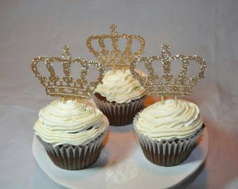 Gold or Rose Gold Crown Cupcake Toppers