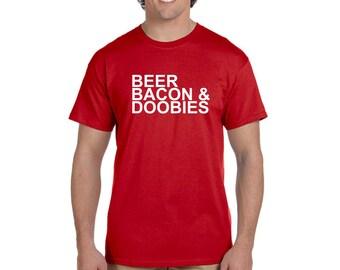 Beer Bacon and Doobies Men's T-shirt Funny Tee