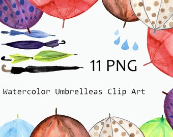 Watercolor Umbrellas Clip Art