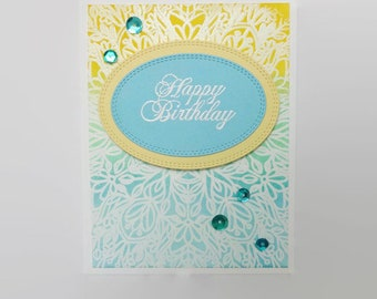 Embossed Birthday Card, Tropical Colors Birthday Card, Hand Stamped Cards
