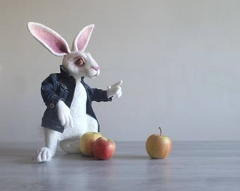 Mr White rabbit Felt Animal Art Doll Alice In Wonderland OOAK Artist bunny Large Needle felted animal