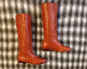1970's, rusty brown leather, pull-up, boots by Hippopotamus
