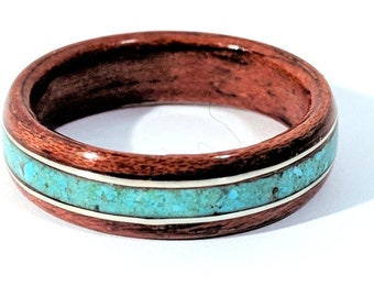 Bentwood Ring - Bubinga Band with Turquoise and Pure Silver