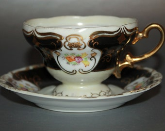 FLEURETTE CHINA Porcelain Teacup and Saucer Set