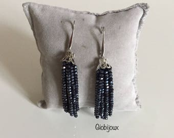 TASSEL EARRINGS bright black - Crystal tassels earrings