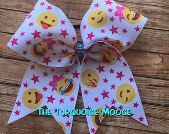 Emoji Cheer Bow, Emoji Hair Bow, Cheerleading Bow, Emoji