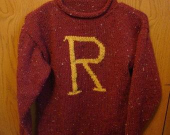 Custom hand knit Weasley Sweater