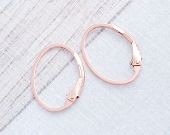 2 pairs of Sterling Silver Rose Gold Vermeil Style Oval Lever Back Earwires 12x17 mm. :pg0031