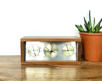 Vintage Weather Station | Wooden Airguide Barometer, Temperature, Humidity Weather Instrument | Home/Shelf Decor