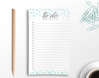 SALE To-Do List Notepad, Cute Desk Notepad, To Do Checklist, Girly Notepad, Desk Pad, List Pad, Daily Planner, Agenda, List, Teacher Gift