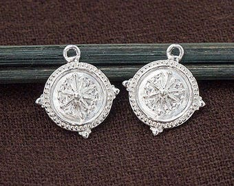 2 of 925 Sterling Silver Compass Printed Charms 13mm. Polish Finished  :tm0174