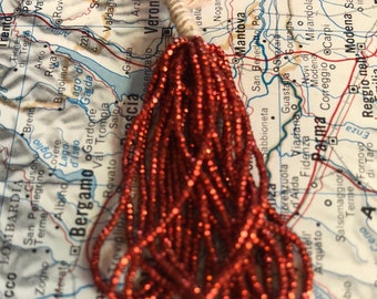 Fabulous French Steel cut bead hank Red antique vintage metal seed beads