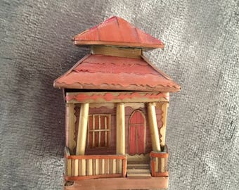 Miniature Bamboo Chinese house. Oriental, with detail