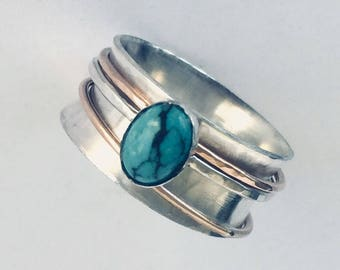 Spinner Ring - Wedding Ring - Spinner Ring For Women - 3 Band Spinner Ring - Mens Spinner Ring - Turquoise Ring For Women