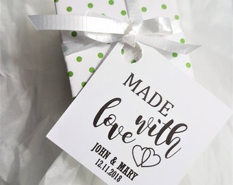 Made with Love Tags, Wedding Favor, Wedding Favor Tags, Custom Tags, Party Favor Tags, Wedding Tags, Wedding Decor, Wedding Gift tags