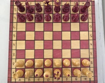 Red Chess Set, Large Board Chess Set, Vintage Wooden Chess Set, Wood Chess Gift Board Game