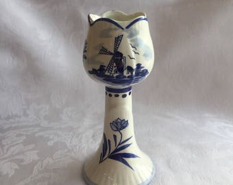 Vintage blue and white Delftware candlestick holder