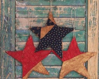 3 Primitive Star Ornaments, Rustic Americana Decor, Patriotic Farmhouse Decor, Antique Quilt Tattered Stars, Red White Blue - READY TO SHIP