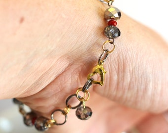 Crystal bead bracelet - Silver Metallic Crystal Bead, Red Crystal Bead and Gold Chain linked adjustable Fashion Bracelet with heart clasp