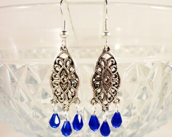 Crystal Chandelier Earrings, Royal Blue Crystal Earrings, Antique Silver Earrings, Metal Beadwork Earrings, Beaded Earrings, Cosutme Jewelry