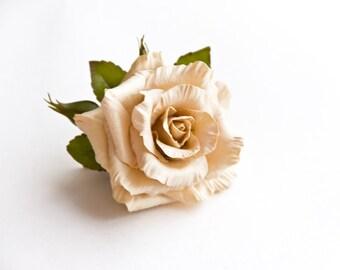 Beige rose brooch Flower brooch bouquet Floral brooch Wedding brooch Fower jewelry Gift for mom Bridal flower Gift for her Gift for Wife