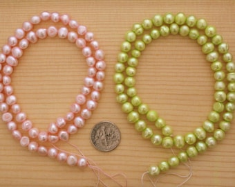 "2 Freshwater Pearl Strands, 6-8 mm pearl beads, potato pearls, cultured pearls, 2-16"" strands, baby pink pearls, chartreuse pearls  (Dp101)"