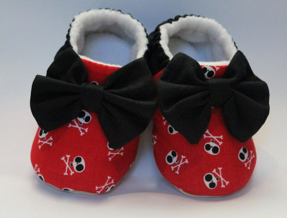 Halloween, Retro or Rocker Billy, baby girls pre walker shoes, moccs