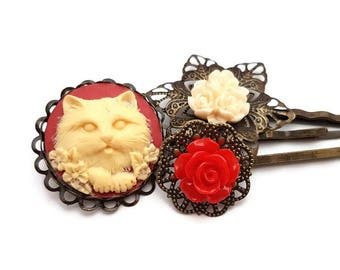 Cat Bobby Pins-Hair Pin Set-Set of 3-Kitten Hair Clips-Cat Hair Slides-Flower Bobby Pins- Red Bobby Pins-Gifts for Girls-Cat Hair Pins-Kitty
