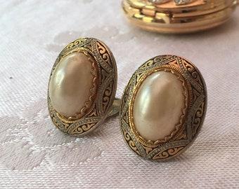Vintage Damascene Toledo ware faux pearl oval clip on earrings Spanish
