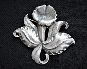 Vintage Sterling Silver Hawaiian CATTLEYA ORCHID BROOCH Cini Style
