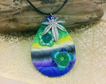 Floral Cannabis Leaf Necklace accented with Rhinestones.