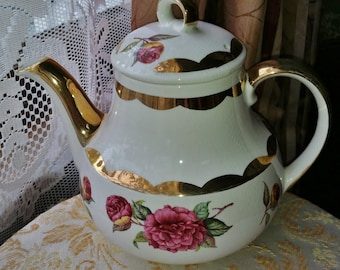 Vintage Gibsons Staffordshire Teapot Made in England, Old English Teapots, Collectible Teapots, Roses & Gold, Vintage Mothers Day Gift Ideas