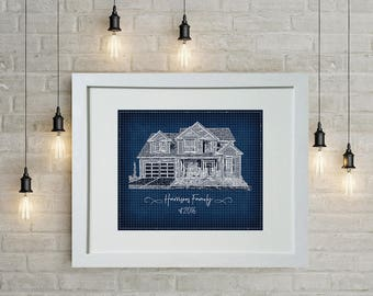 House blueprint etsy personalized wall art blueprint portrait of your house or special home to you custom malvernweather Gallery