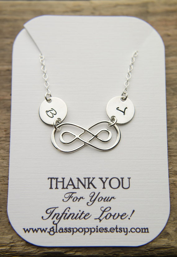 Dainty Infinity Necklace with Two Initials   Bracelet or Choker Sterling Silver   Double Infinity Necklace   Couples or 2 Children Forever