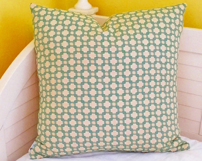 Schumacher Celerie Kemble Betwixt in Water and Ivory Designer Pillow Cover - Both Sides or Front Only - Square, Lumbar and Euro Sizes
