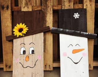 Reversible Scarecrow/Snowman Decor