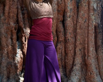 sale > DANCE YOGA PANTS : comfortably dancing with you, wide leg with a different color supporting belt.