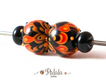 Pair of Black and Orange Halloween Lampwork Glass Beads for earrings