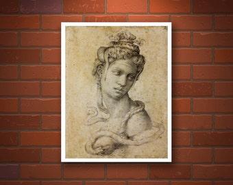 Cleopatra Michelangelo Buonarroti drawing FINE ART PRINT, antique european art, italian art, louvre, woman head, renaissance reproductions