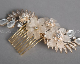 Bridal Hair Comb, Wedding Head Piece, Champagne and Gold - Marlana