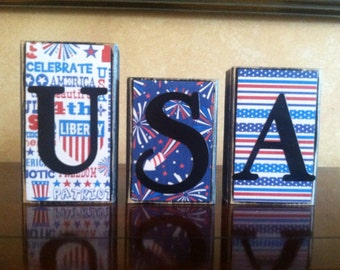 Wood USA Blocks - July 4th/Independence day/Summer/American Home Decor