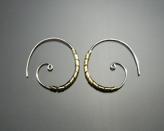 Silver and Gold Hoop Earrings, Two Tone Hoops, Tribal Hoop Earrings, Sterling Silver Hoops, Made to Order