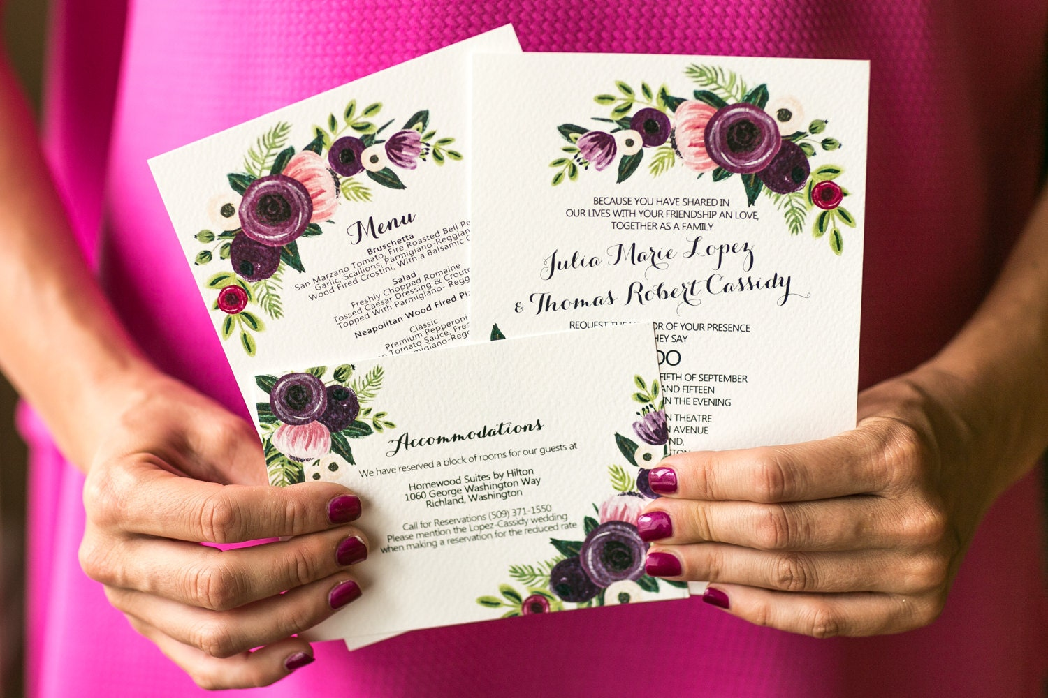 Custom illustrated floral printable wedding invitation set zoom stopboris Choice Image