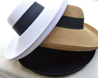 Large Brim White Or Black Sun Hat With Ribbon Band / Large Kettle Brim Sun Hat / Black and White Color Choices / Vacation Hat / Resort Hat