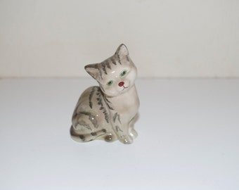 Cat Kitten Figurine by Royal Doulton & Co England Striped Gray