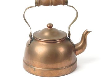 Vintage copper tea kettle pot signed Tagus Portugal R51 wood handle