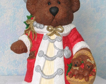 Ceramic Christmas Bear, Handpainted, with Baby Bears