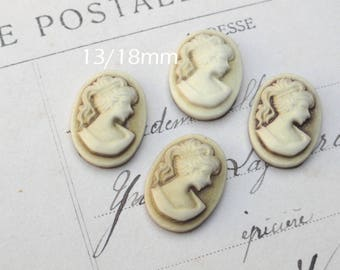 4 x cabochon resin cameo Lady Brown 13 x 18 mm