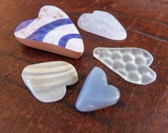 Love heart flock of five in blue white -  handmade gem stone hearts from Australia - ooak heart rocks - heart gift